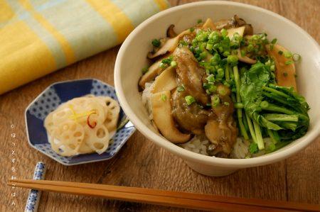 [ほっとする和ごはんレシピ] ぷりぷり牡蠣を味わう「牡蠣とエリンギの醤油焼き丼」